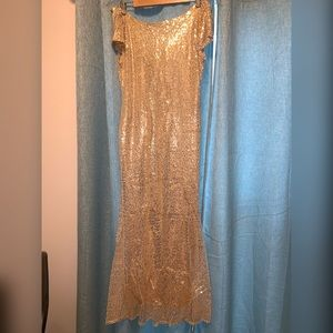 Gold Sequin Mermaid Style long dress